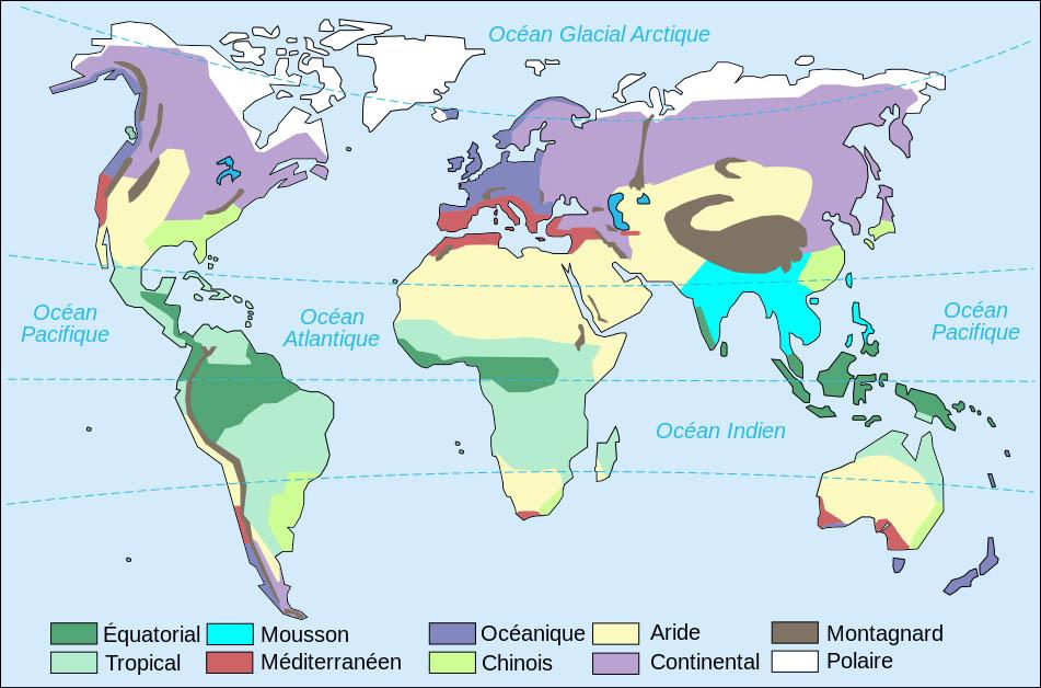 etude des climats du monde